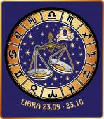Libra zodiac sign.Horoscope circle.Retro Illustration — Stock Photo