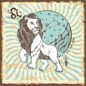 Leo zodiac sign.Vintage Horoscope card — Zdjęcie stockowe