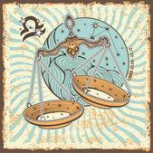 Libra zodiac sign.Vintage Horoscope card — Zdjęcie stockowe