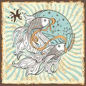 Pisces zodiac sign.Vintage Horoscope card — Zdjęcie stockowe