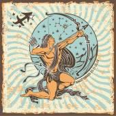 Sagittarius zodiac sign.Vintage Horoscope card — Zdjęcie stockowe