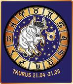 Taurus zodiac sign.Vintage Horoscope card — Zdjęcie stockowe