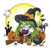 Halloween Witch girl reading book. Illstration — Stock Photo