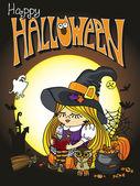 Halloween Witch girl reading book. Happy halloween — Stock Photo