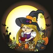 Halloween Witch girl reading book.Moon,pumpkin,cat,boiler — Stock Photo