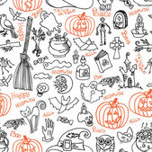 Halloween icons and text seamless pattern.Doodles sketchy — Stock Photo
