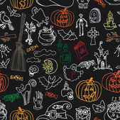 Halloween icons seamless pattern.Doodles sketchy chalkboard — Stock Photo