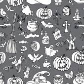 Halloween icons seamless pattern.Doodles sketchy — Stock Photo