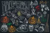 Halloween icons set with text.Doodles sketchy  chalkboard — Stock Photo