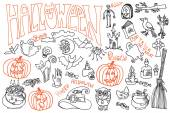 Halloween icons set with text.Doodles sketchy — Stock Photo