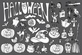 Halloween icons set with text.Doodles sketchy scrapbooking — Stock Photo