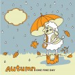 Cute sheep girl with umbrella under rain.Autumn doodle — Stock Photo #54808299