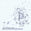Cute sheep girl with umbrella under rain.Sketchy notepaper — Stock Photo #54808313
