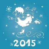 Year of Sheep. Cartoon sheep skate with Snowflakes — Stock Photo