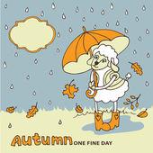 Cute sheep girl with umbrella under rain.Autumn doodle — Stock Photo