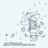 Cute sheep girl with umbrella under rain.Sketchy notepaper — Stock Photo
