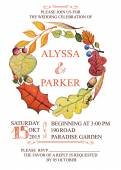 Autumn wedding invitation with watercolor leaves wreath — Stock Photo