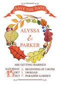 Casamento do outono salvar data grinalda de folhas de cartão com aquarela — Fotografia Stock