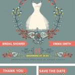 Bridal shower invitation set.Bride portrait,autumn leaves — Stock Photo #54882597