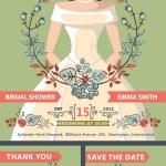 Bridal shower invitation set.Bride portrait,autumn leaves — Stock Photo #54882603