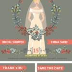 Bridal shower invitation set.Bride,autumn leaves wreath — Stock Photo #54882617