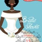 Bridal shower invitation with mulatto bride female — Stock Photo #54882629