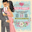 Cute wedding invitation.Floral element, bride, groom — Stock Photo #54882705