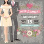 Cute wedding invitation.Bride, groom, floral elements — Stock Photo #54882711