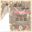 Retro Bridal shower invitation.Bride in long dress — Stock Photo #54882733