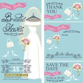Bridal shower invitation set.Bridal dress,autumn leaves — Foto Stock
