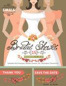 Bridal shower invitation set.Bride,bridesmaids,autumn leaves — Zdjęcie stockowe