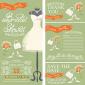 Bridal shower invitationset with bridal dress — Foto Stock