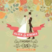 Cute wedding invitation with bride,groom,autumn leaves — Stock Photo