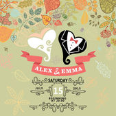 Cute wedding invitation with stylized heart ,autumn leaves — Stock Photo