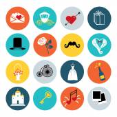 Flat wedding icons set for web and mobile — Stock Photo