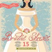 Retro Bridal shower invitation.Bride in white dress — Stock Photo