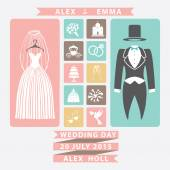 Wedding invitation with Flat icons and wedding clothing — Stock Photo
