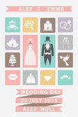 Wedding invitation with Flat icons.Sweet colors — Stock Photo