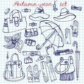 Outline Vector Female Accessories Set.Sketchy notepaper — Stock Photo