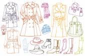 Female clothes set. Autumn ,winter,spring wear.Outline — Stock Photo