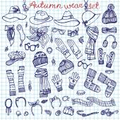 Outline Sketchy notepaper. Female Accessories Set.Autumn,winter — Stock Photo