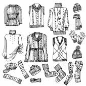 Outline Sketchy.Females knitted clothing set — Stock Photo