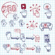 Doodle scheme main activities seo with icons — Stock Photo #55465839
