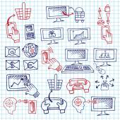 Doodle scheme seo communication with icons.Notepaper — Stock Photo