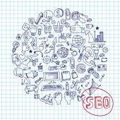 Doodle seo concept with icons in Speak bubble — Stock Photo