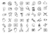 Doodle business seo  icons set.Outline sketchy — Stockfoto