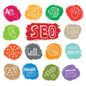 Doodle business seo icons set on colored spot — Stock Photo