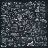 Doodle business seo icons set on Chalkboard — Stock Photo