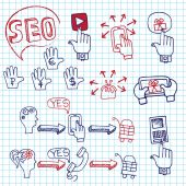 Doodle scheme main activities seo with icons — Stock Photo