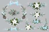 Merry Christmas and New Year Wreaths — Stockfoto